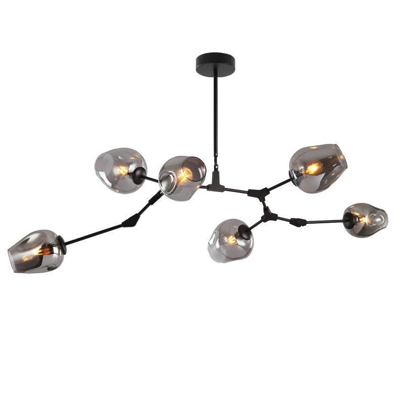 Nebulus - Adjustable 6-Light Black Iron Sputnik Chandelier with Smoked Glass