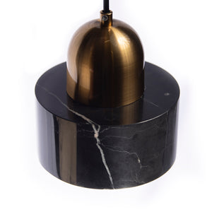 Marcella Small Brass and Black Marble Pendant Light