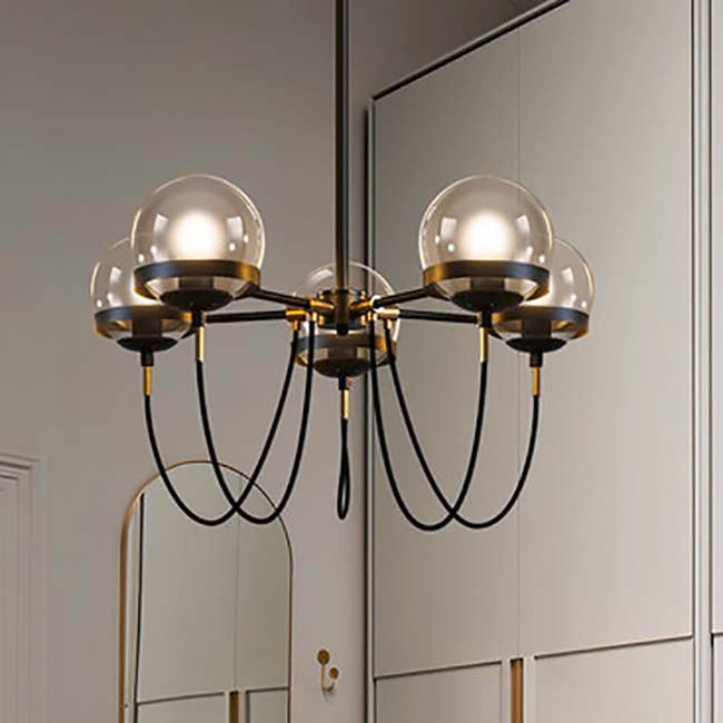 Colby Black and Brass 5-Light Chandelier with Cognac Glass Globes