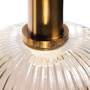 Wynn Fluted Glass Pendant Light with Cognac Glass