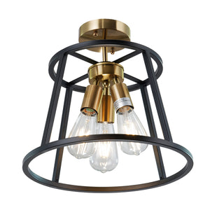 Camilla Round Black Industrial Ceiling Light Fixture