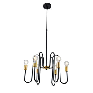 Mona 6-Light Black Industrial Farmhouse Chandelier