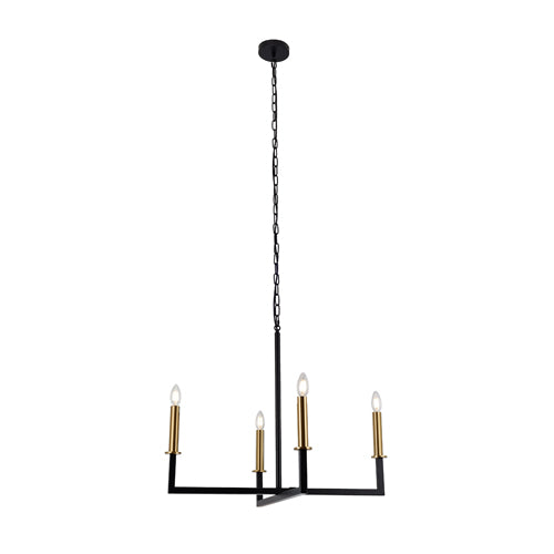 Celina 4-Light Large Black Modern Farmhouse Chandelier with Brass