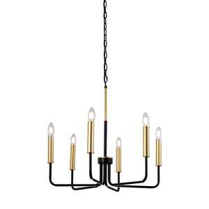 Rita 6-Light Black Farmhouse Chandelier with Gold Candle Lights