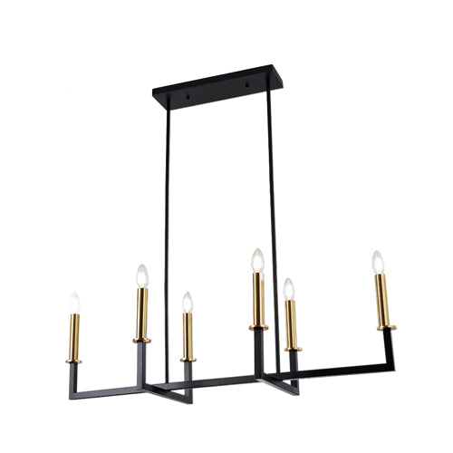 Celina 6-Light Adjustable Black Modern Chandelier with Brass Accents