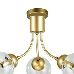 Elodie Gold Semi-Flush Mount Light with Clear Glass Globes