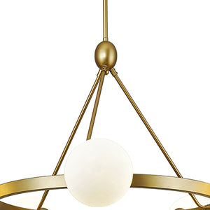 Alicia Modern Globe Wagon Wheel Chandelier in Brass