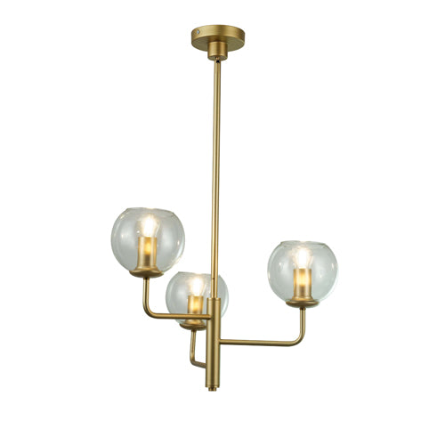 Harley Gold 3-Light Chandelier with Clear Glass Shades
