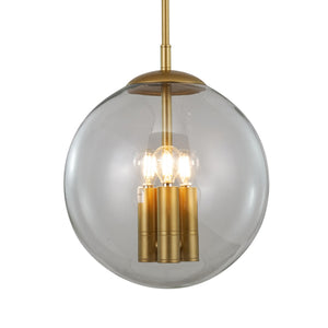 Madelina 3-Light Brass and Glass Globe Pendant Light