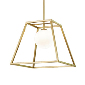 Jade Modern Brass Caged Chandelier with Milky Glass Globe