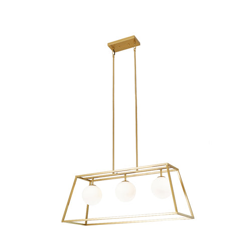 Jade 3-Light Modern Gold Caged Chandelier Light with Glass Globes