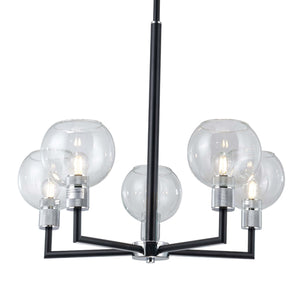 Toni 5-Light Black Modern Chandelier with Clear Glass Shades