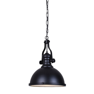 Black Pendant Hanging Light Fixture - Adjustable Length Matte Black Dome Pendant Light