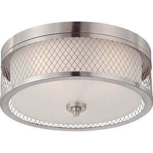 Ryan - Large Flush Mount Ceiling Light Fixture with Satin Nickel Finish Featuring Wire Mesh Shade