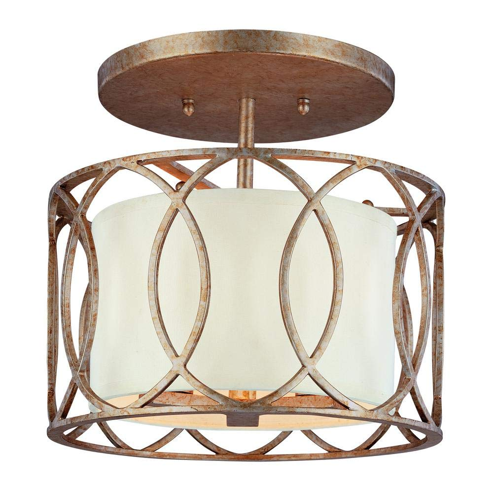 Lauryn - Classic Semi-Flush Mount Ceiling Light with Wrought Iron Featuring a Silver Gold Finish