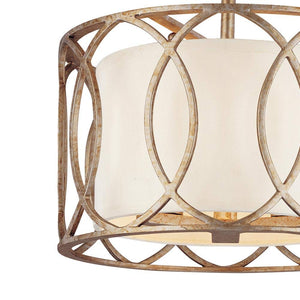 Classic Semi-Flush Mount Ceiling Light with Wrought Iron Featuring a Silver Gold Finish