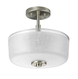 Large 3-Light Semi-Flush Mount Ceiling Light Fixture with Brushed Satin Nickel with Textured Glass