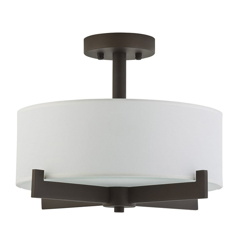 Leo - Semi-Flush Mount Ceiling Light with Black Metal Finish with White Fabric Shade