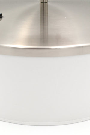 Flush Mount Ceiling Light with Brushed Satin Nickel and Fabric Shade Light Fixture
