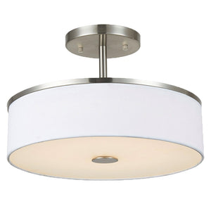 Large 3-Light Semi-Flush Mount Ceiling Light Fixture with Satin Nickel and White Fabric Shade Hanging Light