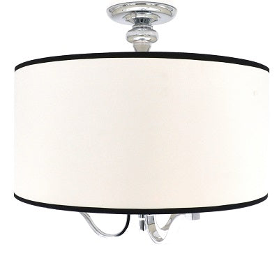 Taryn - Large 3-Light Semi-Flush Mount Ceiling Light Fixture with Chrome and White Fabric with Black Trim