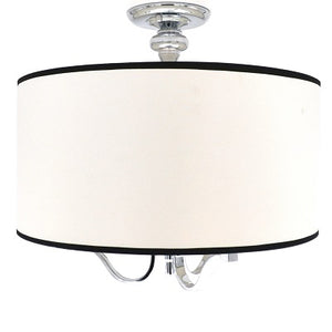 Large 3-Light Semi-Flush Mount Ceiling Light Fixture with Chrome and White Fabric with Black Trim