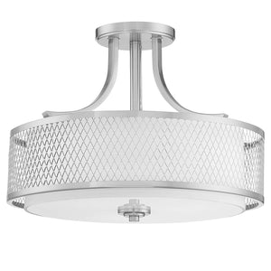 Ryan - Hanging Chandelier Light Fixture with Satin Nickel Finish Featuring Metal Wire Mesh Shade