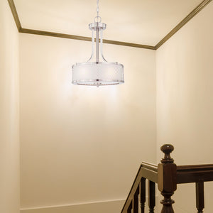 Hanging Chandelier Light Fixture with Satin Nickel Finish Featuring Metal Wire Mesh Shade