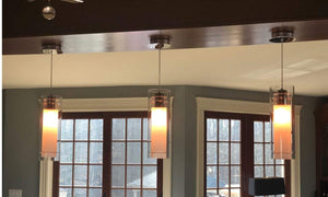 Kimmie Hanging Chrome and Glass Pendant Light with Frosted Glass Insert