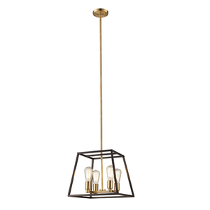 Austin - 4 Light Hanging Chandelier Pendant Light with Metal Cage Shade, Oil Rubbed Bronze/Gold