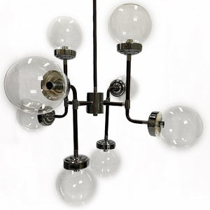 Zara - Metal Industrial 8-Light Chandelier with Glass Globe Shades