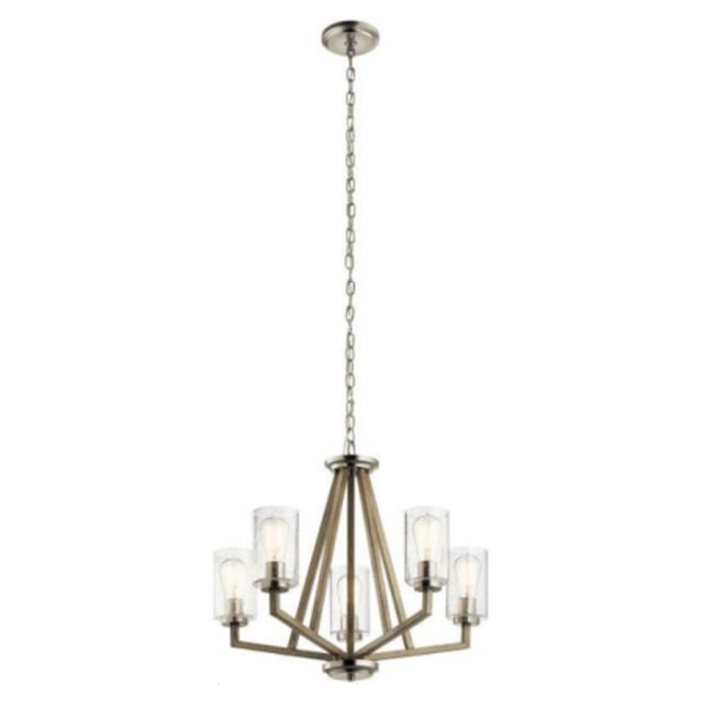 Brixton - Textured Glass 5-Light Chandelier in a Satin Nickel Contemporary Style