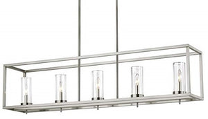 Veronica - Contemporary 5-Light Island Pendant Light Fixture with Satin Nickel Finish with Clear Glass Shades