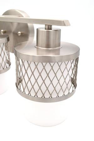 Ryan - Large 3-Light Brushed Nickel Bathroom Vanity Light with White Glass Shades with Silver Wire Design