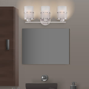 Large 3-Light Brushed Nickel Bathroom Vanity Light with White Glass Shades with Silver Wire Design