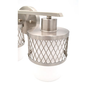 Ryan - Brushed Nickel Bathroom Vanity Light with White Glass Shades