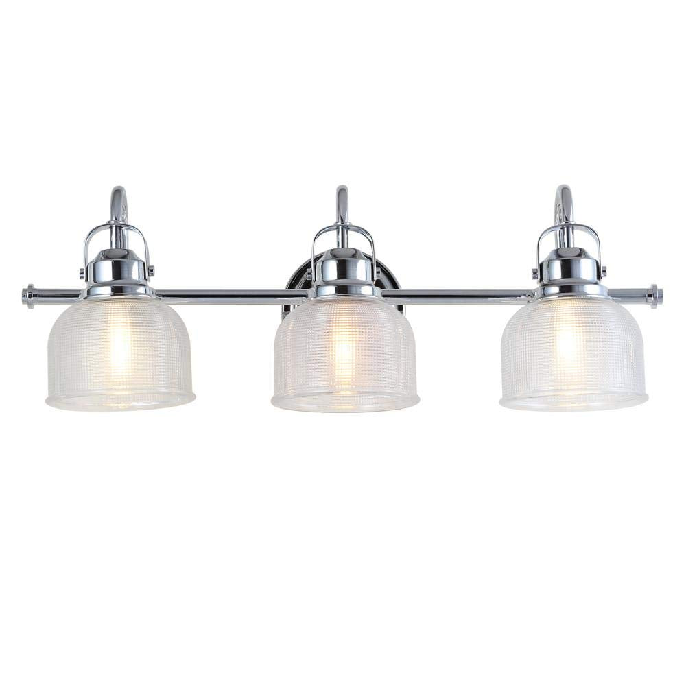 Rusnak - Large Chrome and Glass 3-Light Bathroom Vanity Light, Traditional Silver Metal with Textured Glass Shades Vanity Sconce