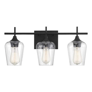 Emma - Large Black Metal 3-Light Bathroom Vanity Light with Clear Glass Shades Vanity Sconce