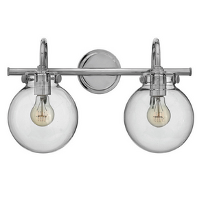 Taft 2 Light - Bathroom Vanity Light with Clear Glass Globe Shades