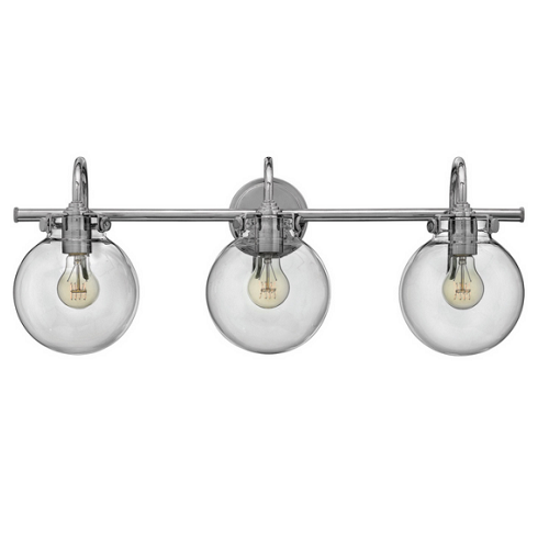 Taft 3 Light - Bathroom Vanity Light with Clear Glass Globe Shades