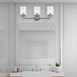 Large 3-Light Bathroom Vanity Sconce Wall Lighting in Satin Brushed Nickel with Clear Seeded Glass Cylinder Lamp Shades