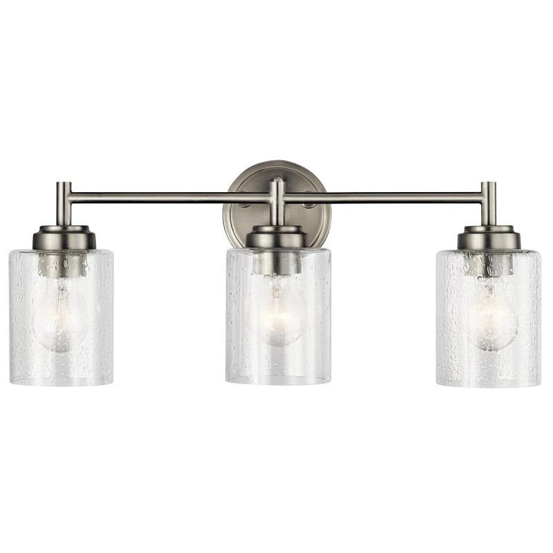 Lina - Large 3-Light Bathroom Vanity Sconce Wall Lighting in Satin Brushed Nickel with Clear Seeded Glass Cylinder Lamp Shades