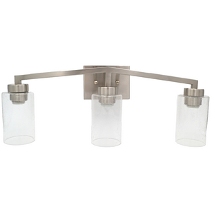 3 Light Bathroom Vanity Light - Bright Satin Nickel and Textured Glass Shades Vanity Sconce