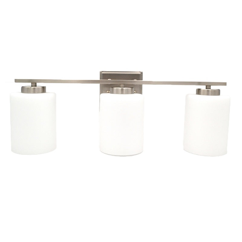 Cori - 3-Light Bathroom Vanity Light  Bright Satin Nickel and White Glass Shades Vanity Sconce