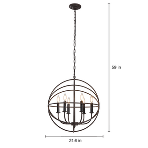 Daylen - Large 6-Light Wrought Iron Hanging Chandelier with Adjustable Chain Length