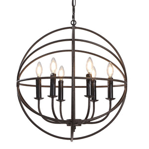 Large, 6-Light Wrought Iron Hanging Chandelier with Adjustable Chain Length