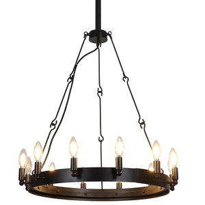 Black Iron 12-Light Chandelier - Wagon Wheel Style Rustic Farmhouse Design