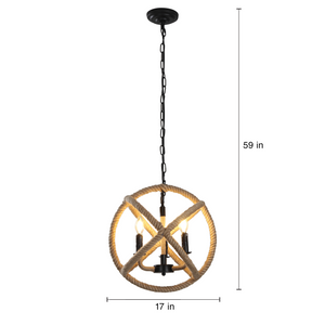 Louis - Rustic 4-Light Rope Chandelier - Decorative Hanging Home Decor Light