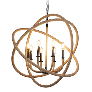 Calli - Large Rustic Rope and Iron Hanging Chandelier with Adjustable Hanging Chain