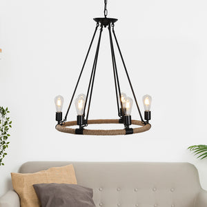 Rope and Wrought Iron 6-Light Chandelier Adjustable Height